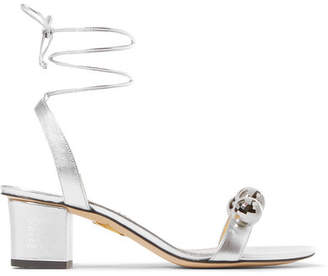 Charlotte Olympia Tara Embellished Metallic Leather Sandals - Silver