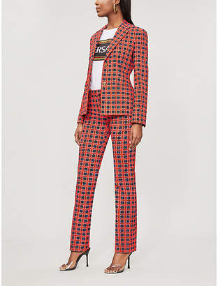 Versace Geometric-check stretch-cotton blazer