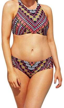 Becca Etc LEO BON Womens Plus Size Caravan Hi Neck Swimsuit