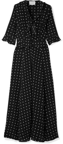 we are LEONE - Ruby Ruffled Polka-dot Silk Crepe De Chine Robe - Black