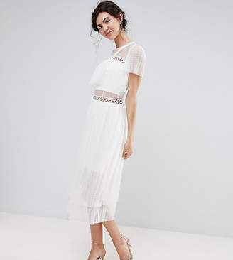 True Decadence Tall Tulle Ruffle Midi Dress With Metal Ring Detail