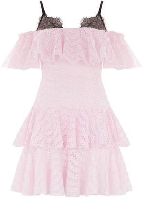 Giambattista Valli Ruffle Tiered Lace Mini Dress