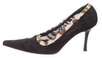 Luciano Padovan Ponyhair-Trimmed Pointed-Toe Pumps