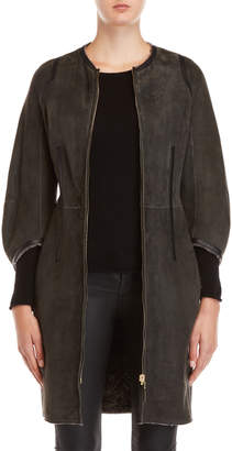 Yves Salomon Leather Real Shearling Lined Coat