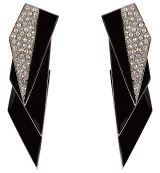 Saint Laurent Geometric Crystal Embellished Clip On Earrings - Womens - Black