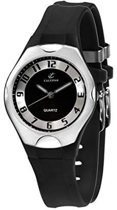 Calypso Unisex Quartz Watch with Black Dial Analogue Display and Black Plastic Strap K5162/2