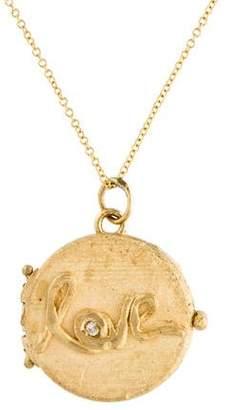 14K Diamond 'love' Locket Pendant Necklace