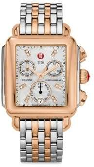 Michele Deco 18 Diamond, Mother-Of-Pearl, 18K Rose Goldplated& Stainless Steel Bracelet Watch