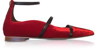 Malone Souliers Robyn Flat Red Velvet and Burgundy Nappa Ballerinas