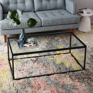 west elm Box Frame Coffee Table - Glass/Antique Bronze