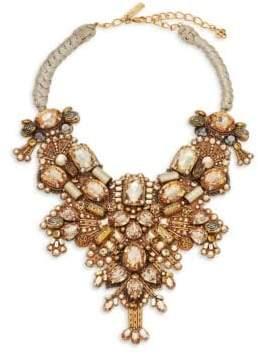 Oscar de la Renta Crystal & Silver Beaded Bib Necklace