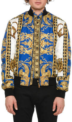 Versace Men's Graphic Quilted Bomber Jacket