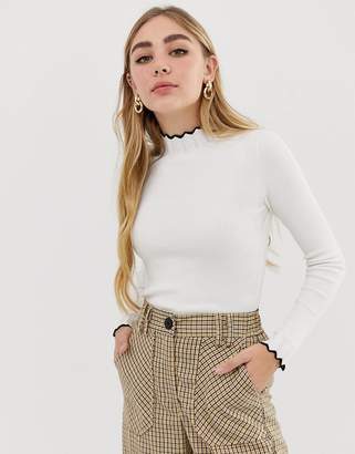 Miss Selfridge contrast scallop edge sweater in cream