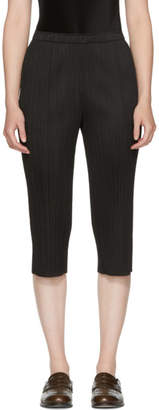 Pleats Please Issey Miyake Black Basics Pleated Cropped Trousers