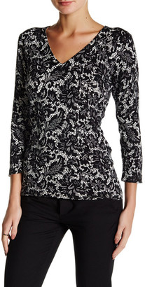 Laundry By Shelli Segal Lacey Grace Printed V-Neck Sweater $34.97 thestylecure.com