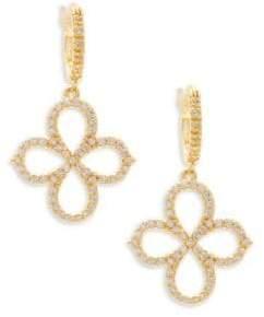 Freida Rothman Pavé Open Clover Sterling Silver Drop Earrings