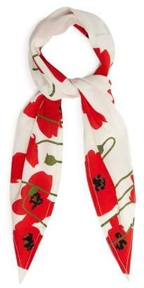 Rockins - Poppy Print Silk Scarf - Womens - White