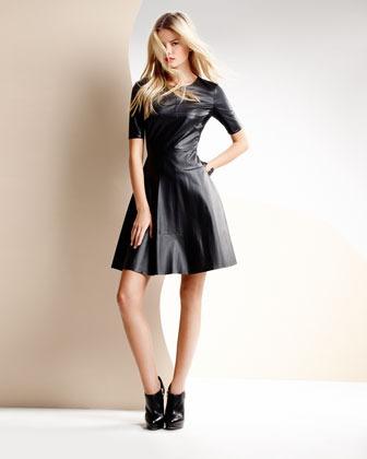 BCBGMAXAZRIA Faux-Leather A-Line Dress
