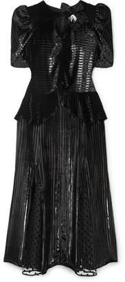 Erdem Diantha Striped Metallic Velvet And Flocked Tulle Midi Dress - Black