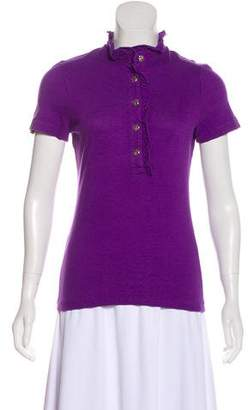 Tory Burch Ruffle-Accented Button-Up Top