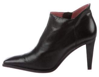 Sergio Rossi Leather Sqaure-Toe Booties