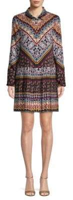 Laundry by Shelli Segal Mixed Print Pleated Shirtdress