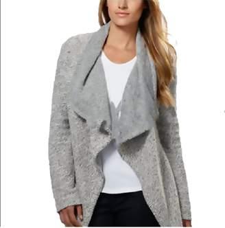 Blanc Noir BNCI by Womens Tweed Drape Front Shawl Collar Cardigan Sweater