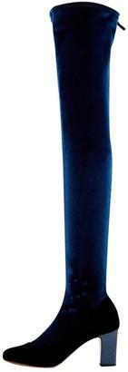 Tabitha Simmons Navy Velvet Boots