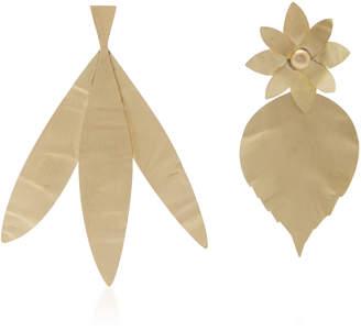 Tory Burch Hammered Metal Leaf Earring