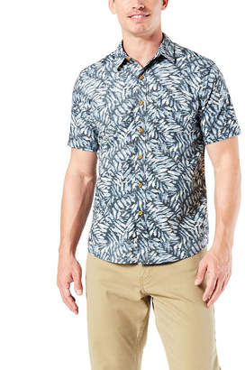 f1aacb61 Dockers Mens Short Sleeve Moisture Wicking Leaf Button-Front Shirt