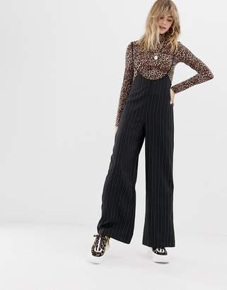 Reclaimed Vintage inspired pants with suspenders in pinstripe