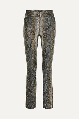 Stand Studio - Rina Snake-effect Leather Slim-leg Pants - Gray