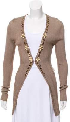 Blumarine Embellished Rib-Knit Cardigan w/ Tags Brown Embellished Rib-Knit Cardigan w/ Tags