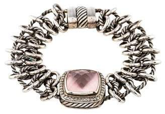 David Yurman Rose Quartz & Diamond Albion Link Bracelet