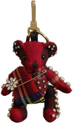 Burberry Thomas Bear Check Cashmere Bag Charm with Crystal Kilt Pin