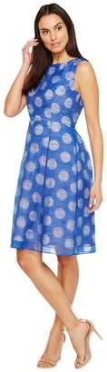 Adrianna Papell Pop Dot Burnout Sleeveless Fit and Flare Dress Women's Dress