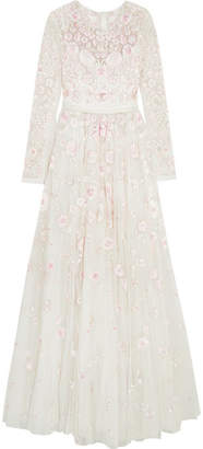 Needle & Thread - Rosette Embellished Embroidered Tulle Gown - Ivory $1,895 thestylecure.com
