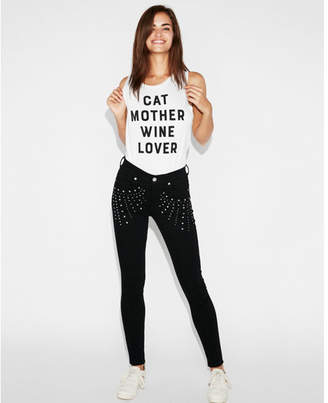 Express cat mother wine lover graphic muscle tank