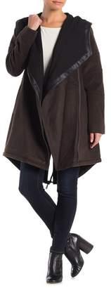 BCBGeneration Hooded Faux Leather Trim Asymmetrical Zip Wool Blend Coat