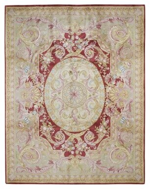 Astoria Grand One-of-a-Kind Doylestown Thick and Plush Savonnerie Napoleon III Hand-Knotted 8' x 10' Wool Ivory Area Rug Astoria Grand