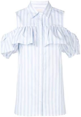815302a74bb3c MICHAEL Michael Kors striped cold shoulder shirt