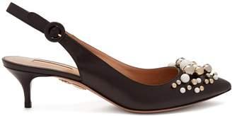 Aquazzura Bon Bon 50 embellished slingback leather pumps
