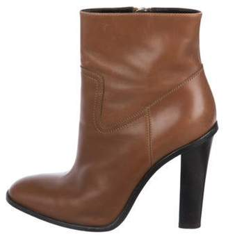 Saint Laurent Leather Round-Toe Ankle Boots Brown Leather Round-Toe Ankle Boots