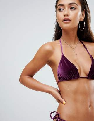 Asos DESIGN mix and match velvet triangle bikini top