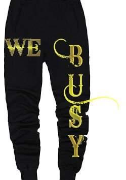 Gildan AAA, Gildan, CH Girls Black & Gold We Busy Small Sweatpants