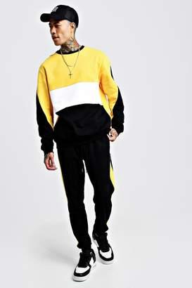 boohoo Colour Block Sweater Tracksuit