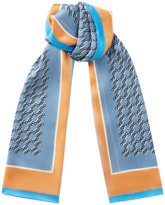 Jimmy Choo MELI Rectangular Silk Stole in Stone Blue with all over CHOO logo