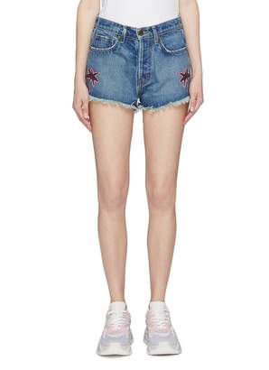 Bos. & Co. Sandrine Rose 'The Doll Bosco' palm tree appliqué frayed denim shorts