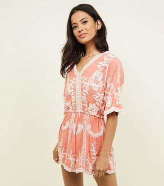 New Look Coral Crochet Embroidered Playsuit