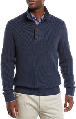 Neiman Marcus Men's Collared Organic Cotton Pullover Sweater